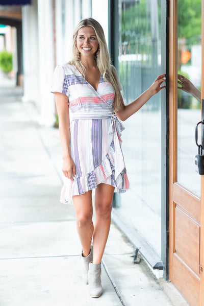 See You Smile Dress, White Multi