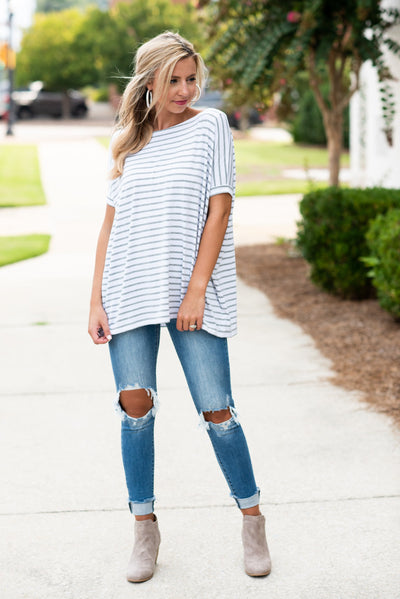 Treat Yourself Piko Top, White-Gray