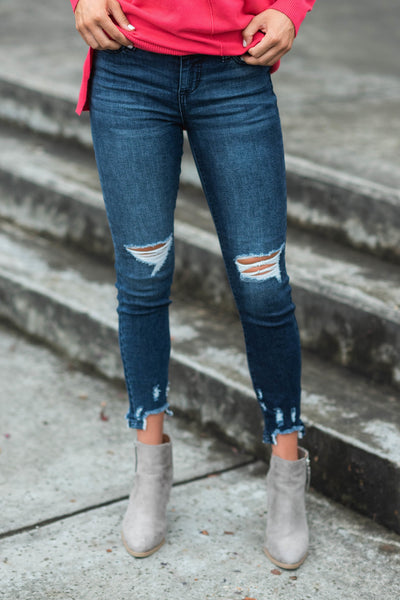 Moving Along Skinny Jeans, Dark Denim