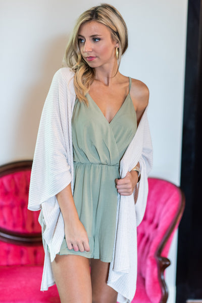 Party Chic Romper, Olive