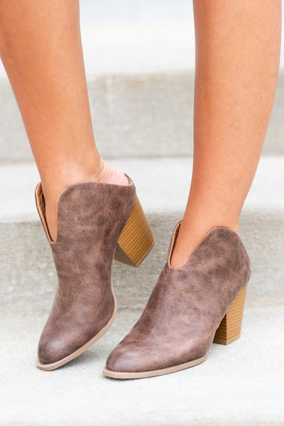 There For You Mule Booties, Nutmeg