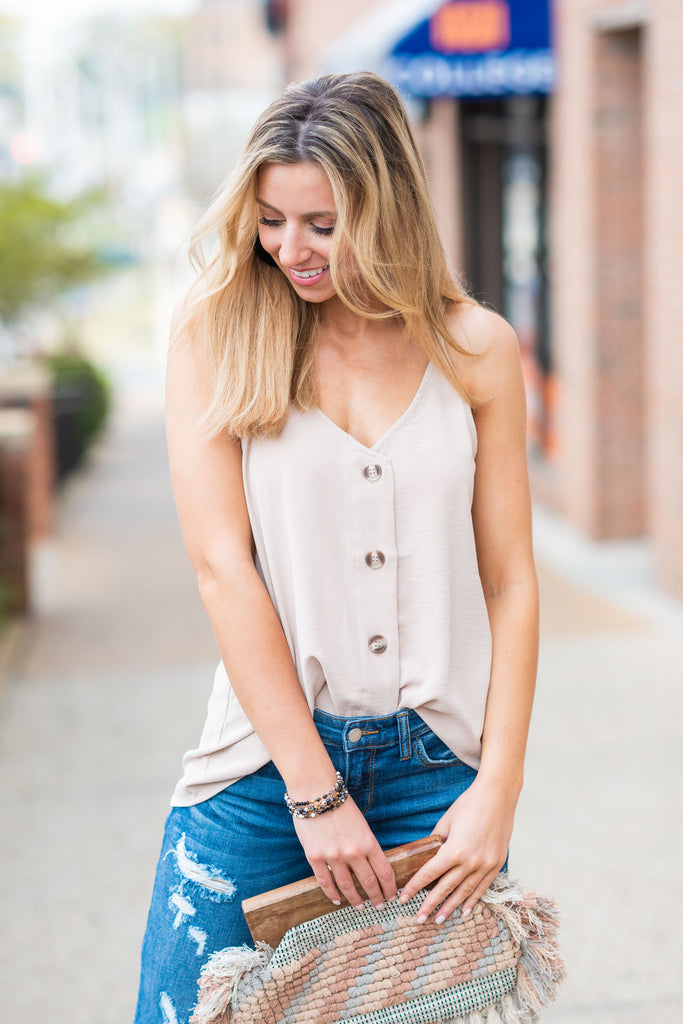 Just Take A Look Sand Brown Button Tank