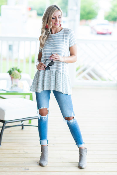 Feeling Just Fine Top, Heather Gray
