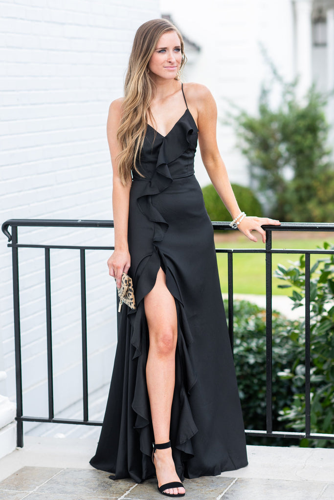 dress, long, formal, black, sleeveless, v neck, wedding, spaghetti straps, ruffles, winter, fall, black, solid, flowy, slit, little black dress