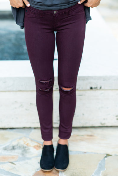 Fun Of The Chase Skinny Jeans, Burgundy