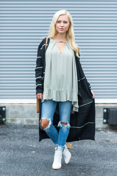 As Long As You Love Me Cardigan, Black-Ivory