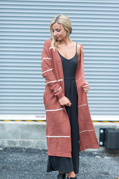As Long As You Love Me Cardigan, Mauve-Ivory