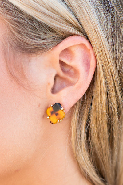 Dress Code Approved Earrings, Tortoise