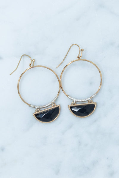 Stop by Earrings, Black