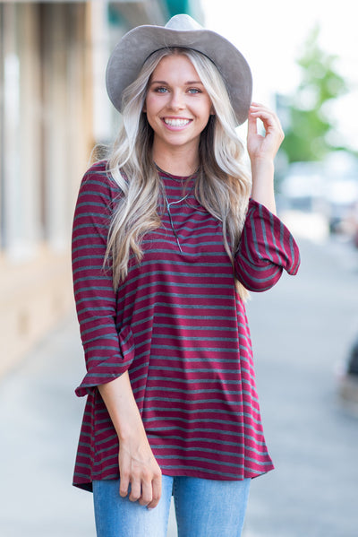 Easy To Love You Top, Burgundy-Charcoal