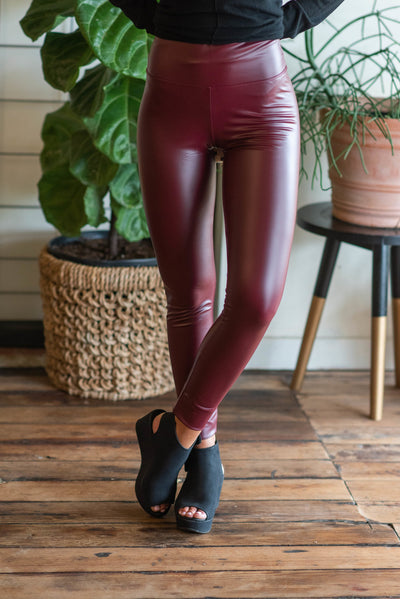 You're The One That I Want Highwaisted Leggings, Burgundy