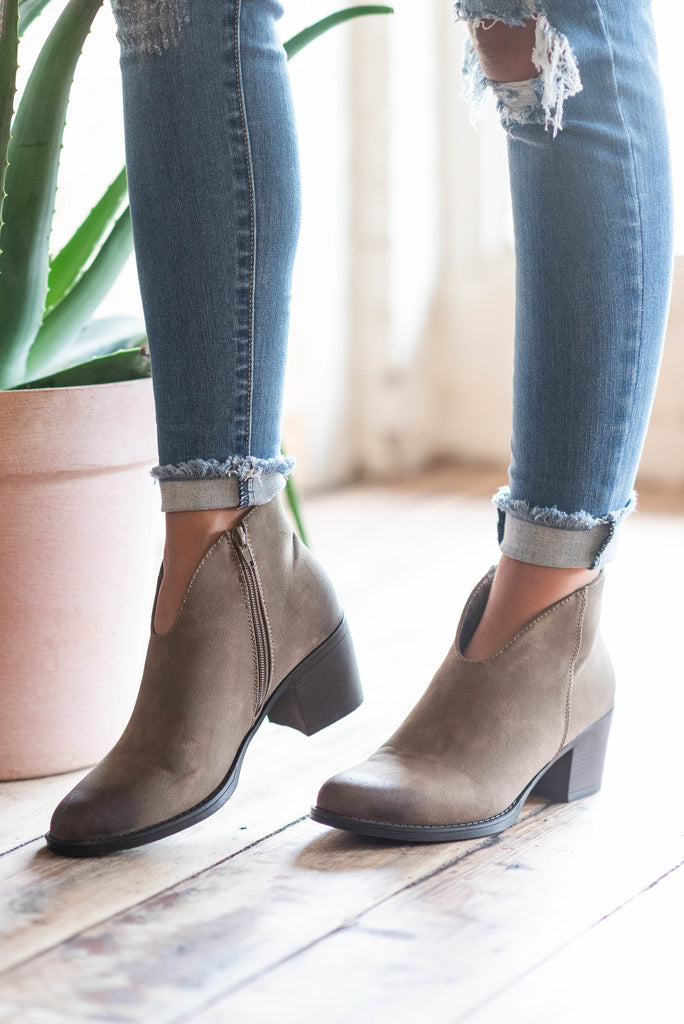 booties, boots, heeled, zipper, taupe, brown
