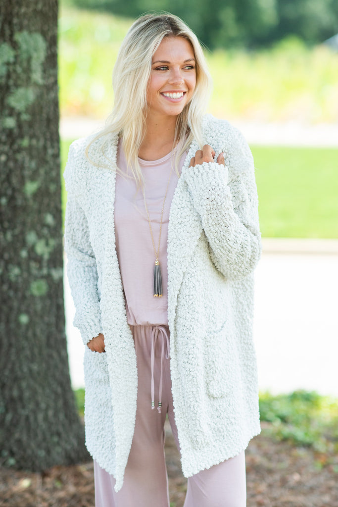 Movie Night Cardigan, Light Grey