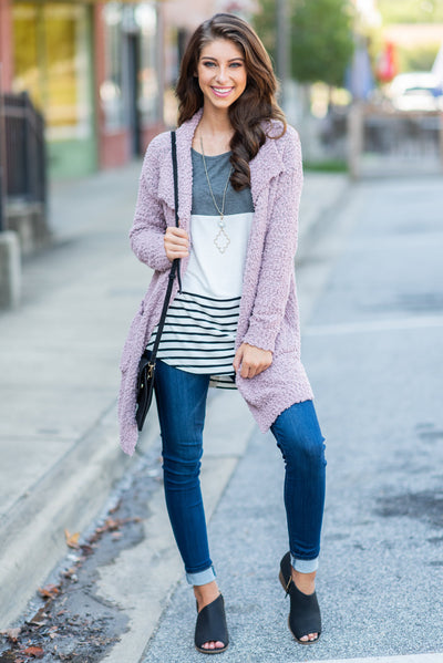 Movie Night Cardigan, Mauve
