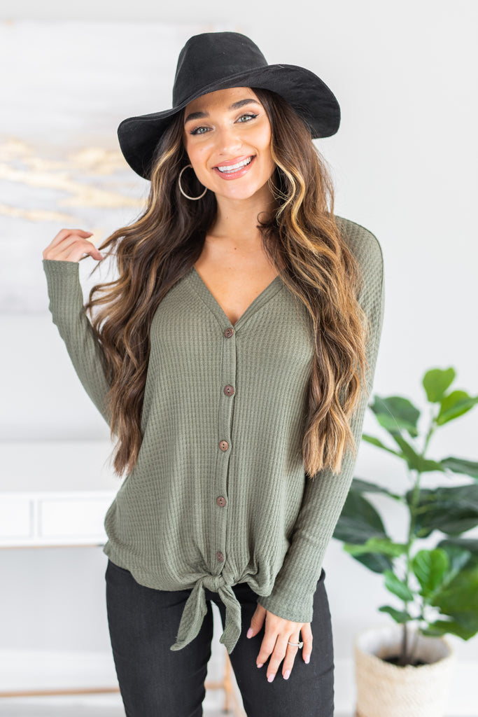 fall, top, fall top, trendy, waffle fabric, long sleeves, long sleeve top, button detailing, tied hem, v neck, generous stretch, olive, olive top