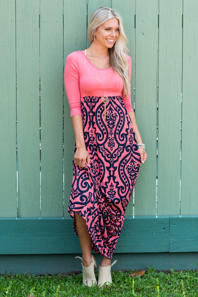 Never Too Busy Maxi Dress, Coral-Navy