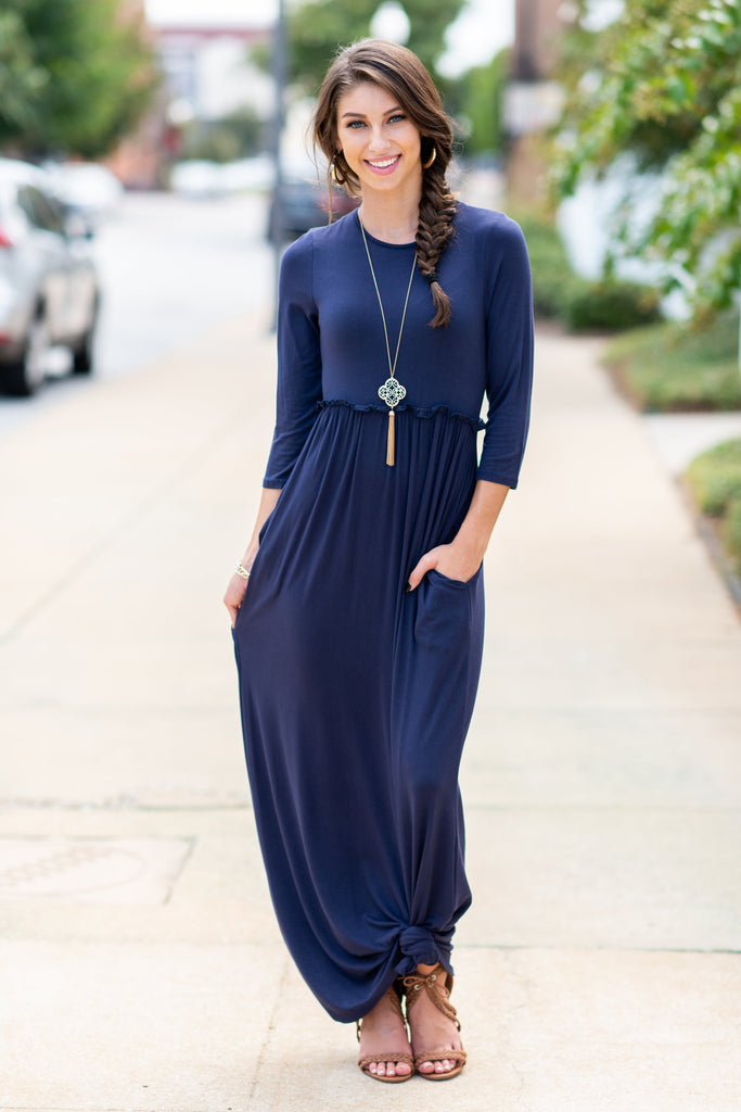 dress, maxi, long sleeve, long, ankle length, fall, winter, warm, solid, flowy, blue, navy