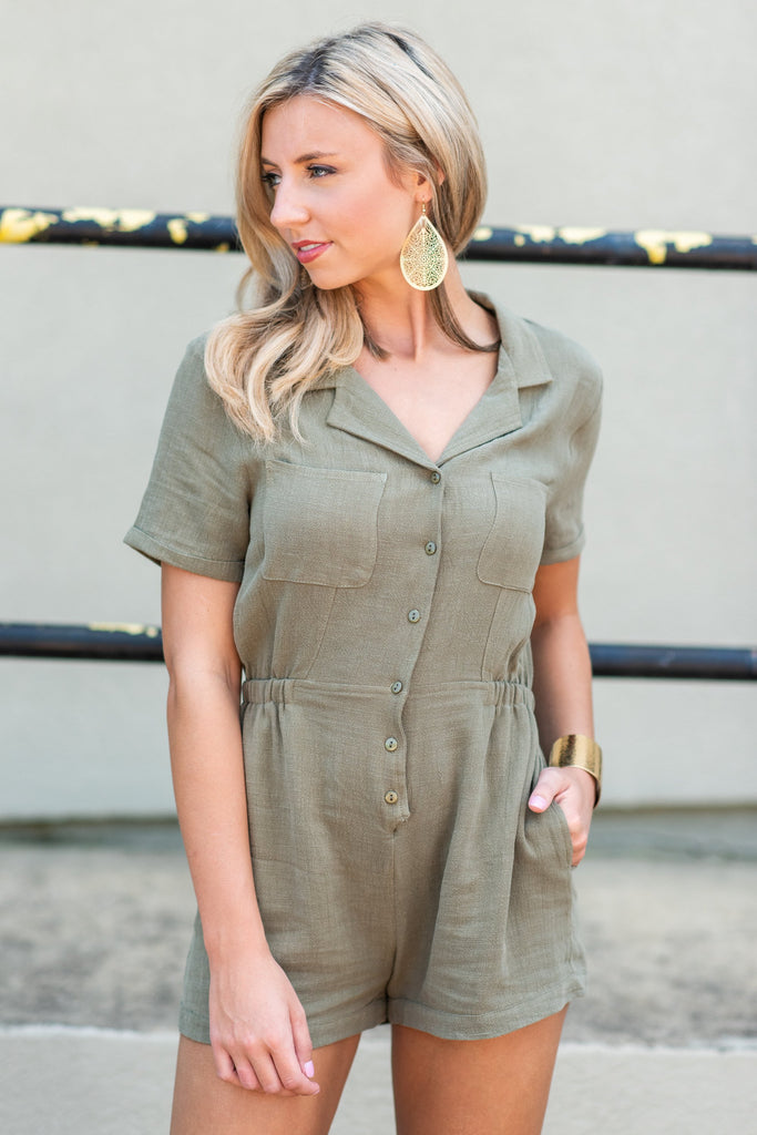 Better Get Going Romper, Olive