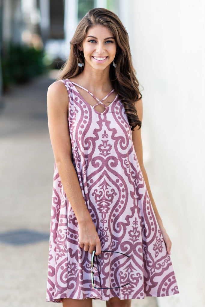 Never Too Busy Crisscross Dress, Blush-Mauve
