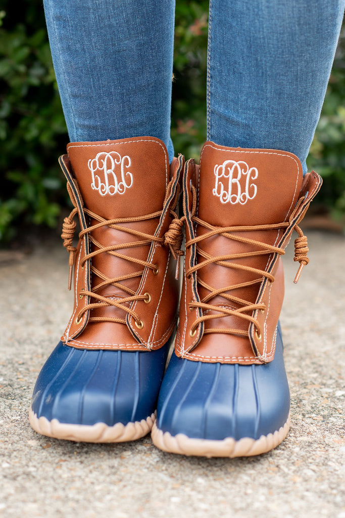 shoes, boots, duck boots, blue, brown, monogram, fall shoes, winter shoes, winter boots, navy