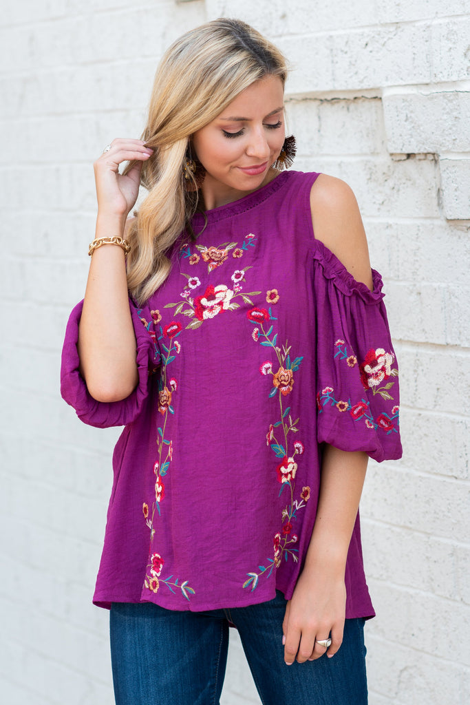 Worth Some Romance Top, Magenta