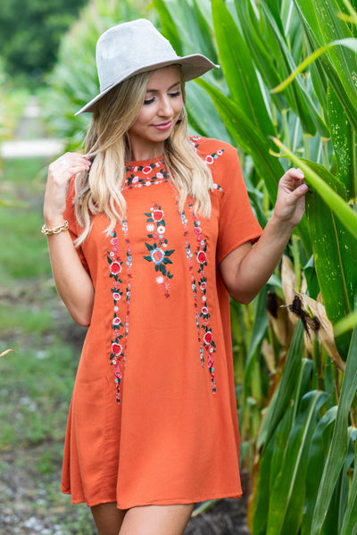 On The Border Dress, Terracotta