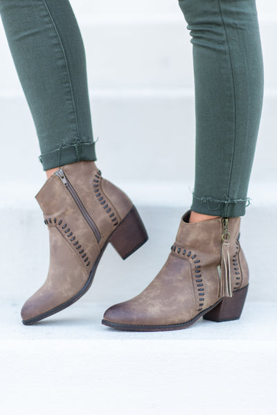 On Your Own Booties, Taupe