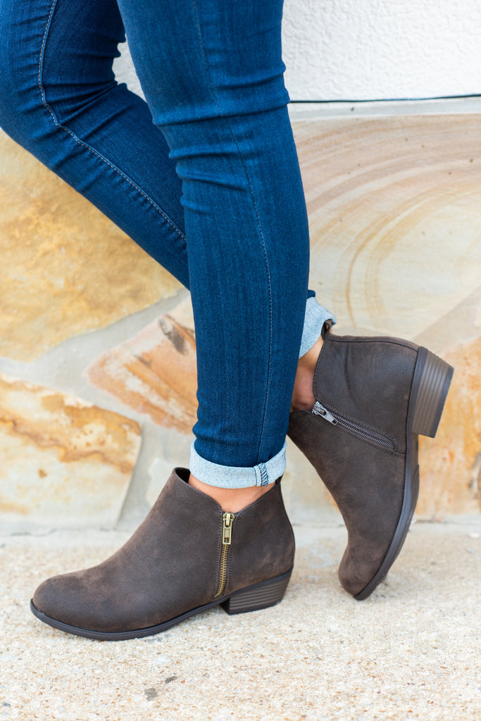 booties, boots, flats, brown, dark brown, zipper, suede, shopping, everyday, Neutral, natural, fall, winter, chic, ankle height, ankle boots
