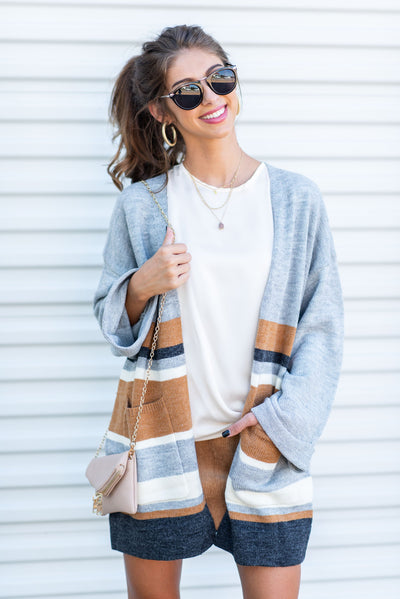 No Other Way Cardigan, Gray-Camel