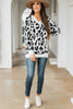 sweater, casual, cute, light sweater, animal print, leopard print, long sleeve, cozy, warm, v neck, fall, winter