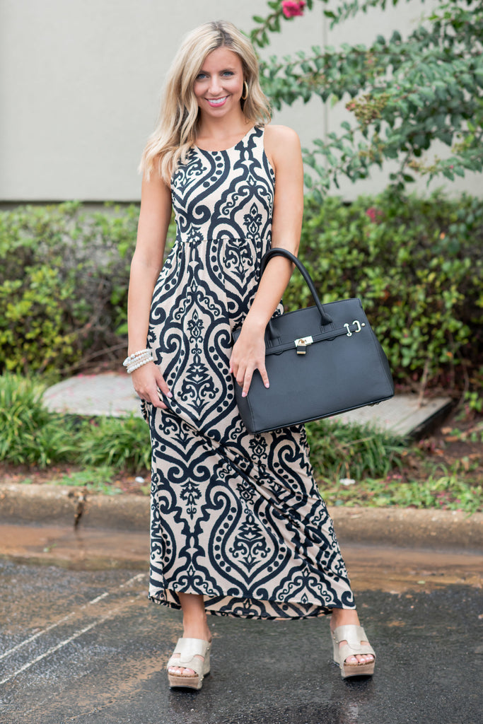 Never Too Busy Tank Maxi Dress, Taupe-Black