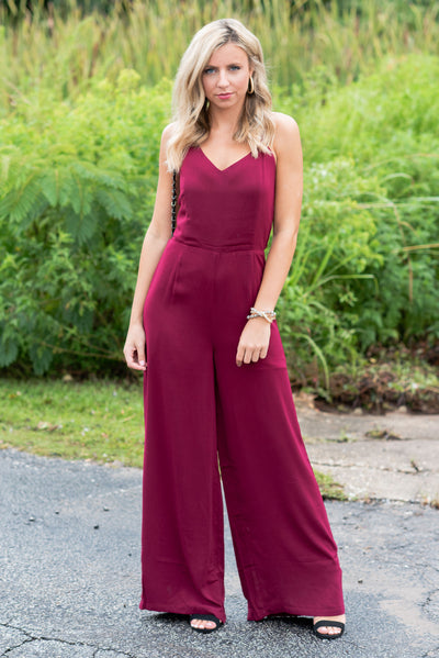 As Chic As It Gets Jumpsuit, Wine