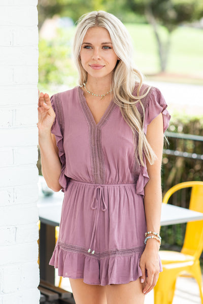 Looking Right At Me Romper, Mauve