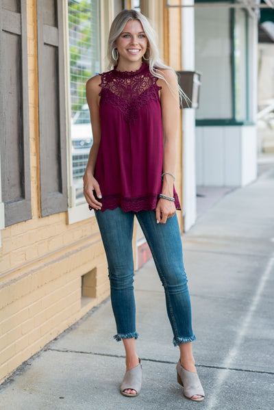 Intriguing Beauty Tank, Burgundy