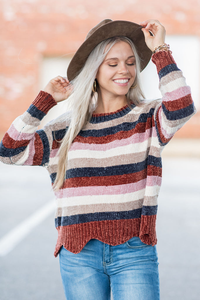 Cute To Cuddle Brick Red Chenille Sweater