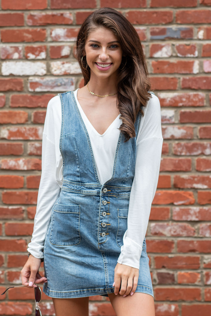 Love You Always Overall Dress, Denim