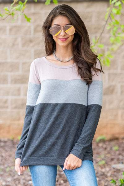 Just What You Like Top, Charcoal-Mauve