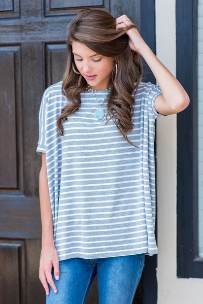 Treat Yourself Piko Top, Heather Gray
