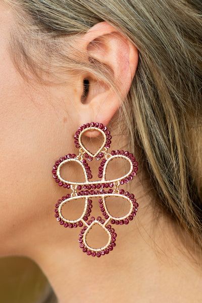 To Infinity Earrings, Burgundy-Gold