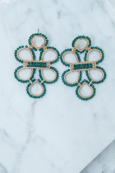 To Infinity Earrings, Dark Green- Gold
