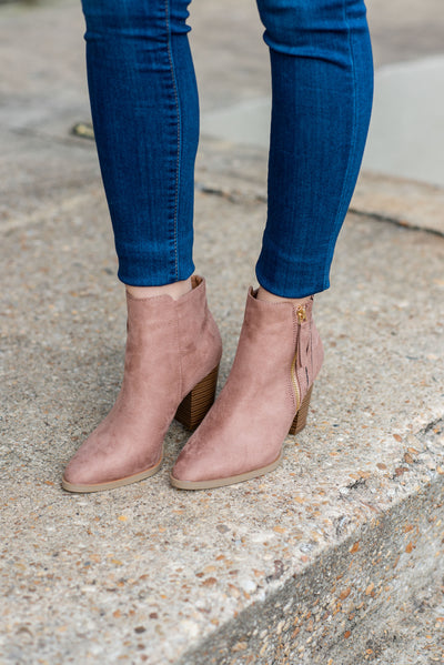 The Trendsetter Booties, Dark Blush