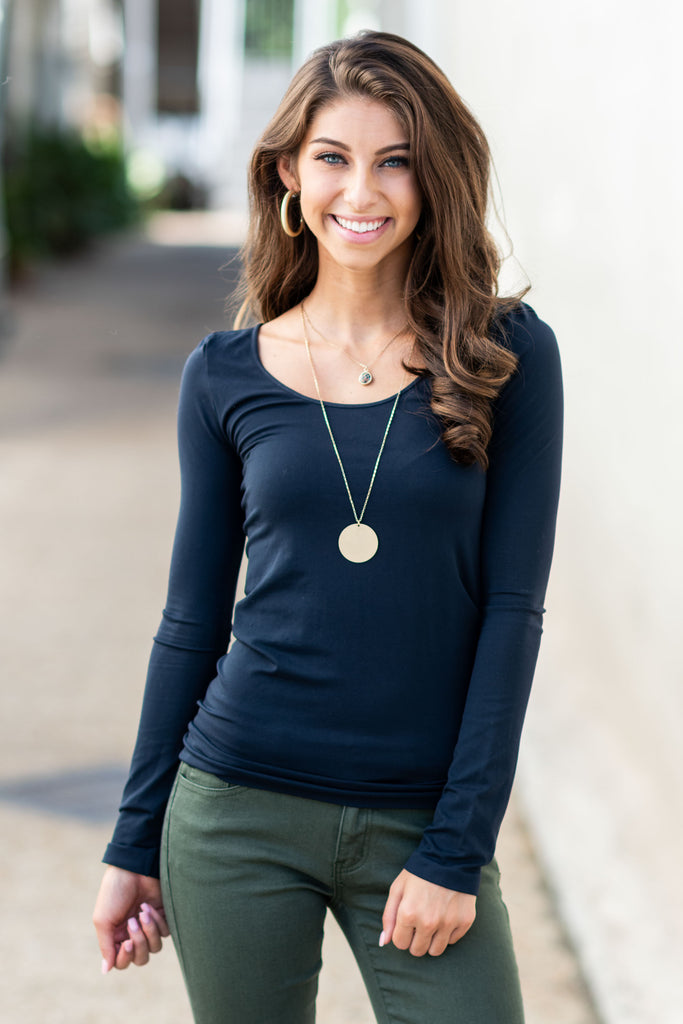 Long Sleeve layering Top, Midnight