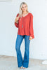 top, casual top, long sleeve, fall top, fall clothing, winter clothing, rust, orange, v neck, solid, simple