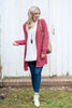 cardigan, casual, top, layers, outerwear, fall, winter, long sleeve, rose, pink, pocket, bright