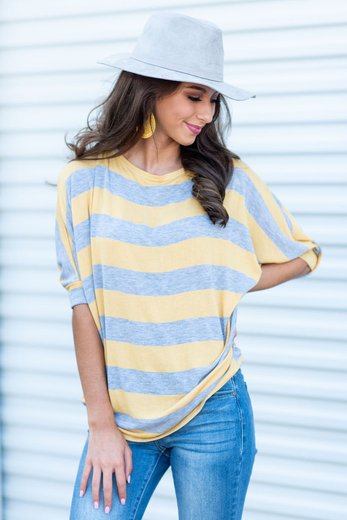Doing Your Best Top, Heather Gray-Mustard