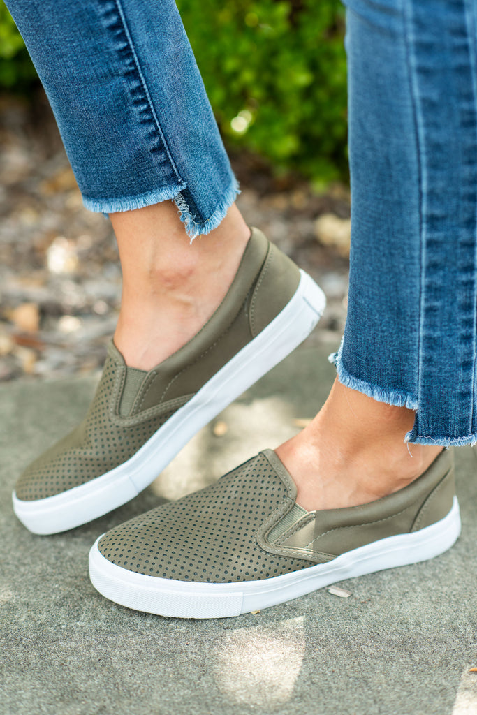 shoes, sneakers, slip on, fall, winter, green, olive, flats, cute, casual