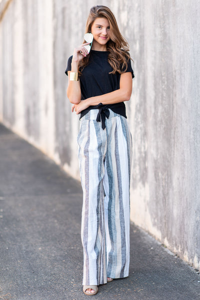 High Key Chic Pants, White-Gray