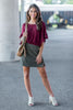 top, casual, fall, winter, burgundy, red, ruffle sleeves, short sleeve, solid, plain, simple