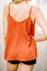 top, tank top, spaghetti straps, solid, solid tank top, orange, orange tank top, buttons, button down tank top, v-neck, v-neck tank top, casual, casual tank top, summer, summer tank top, fall, fall tank top