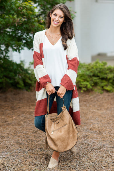 Keep It Together Cardigan, Rust-Cream
